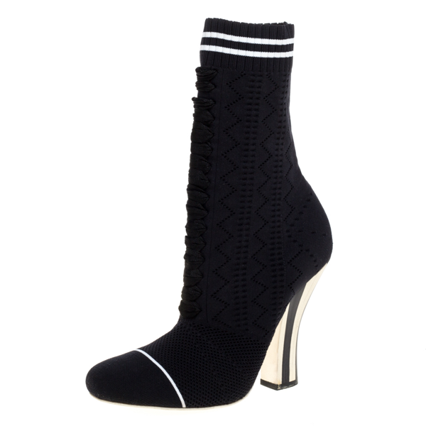 Pre-owned Fendi Black Knit Fabric Rockoko Runway Openwork Ankle Boots Size 38