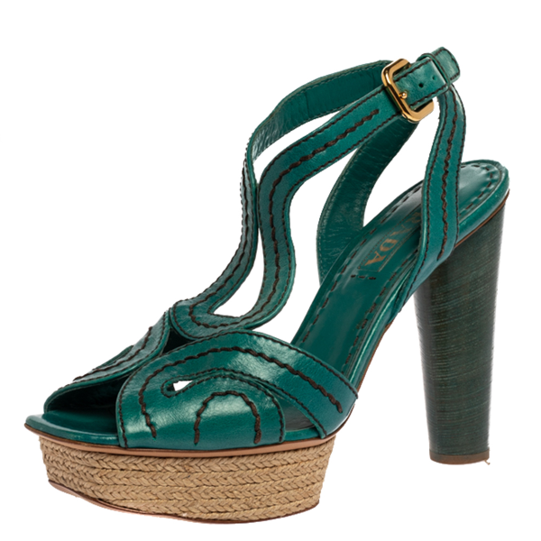 Pre-owned Prada Teal Leather Peep Toe Ankle Strap Platform Sandals Size 39 In Green