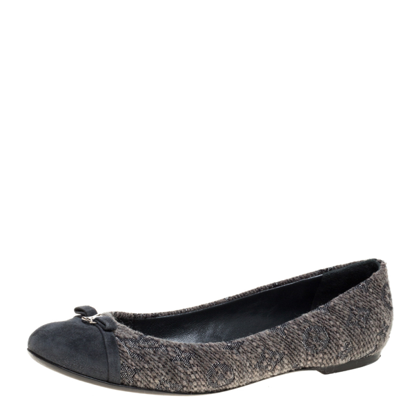 Pre-owned Louis Vuitton Grey Suede And Tweed Ballet Flats Size 40