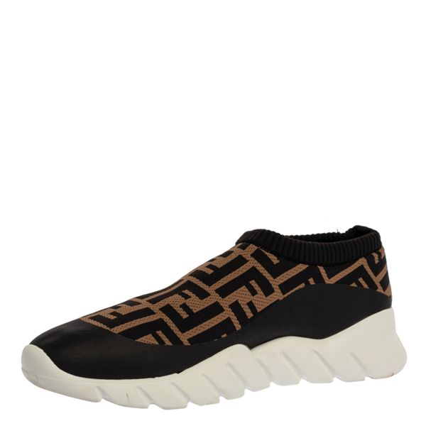 Pre-owned Fendi Black/brown Zucca Print Knit Slip On Sneakers Size 43