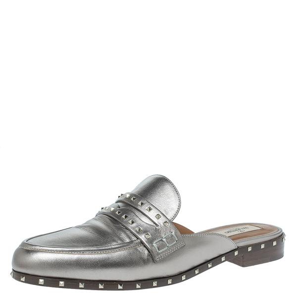 Pre-owned Valentino Garavani Metallic Leather Soul Rockstud Loafers Mules Size 41