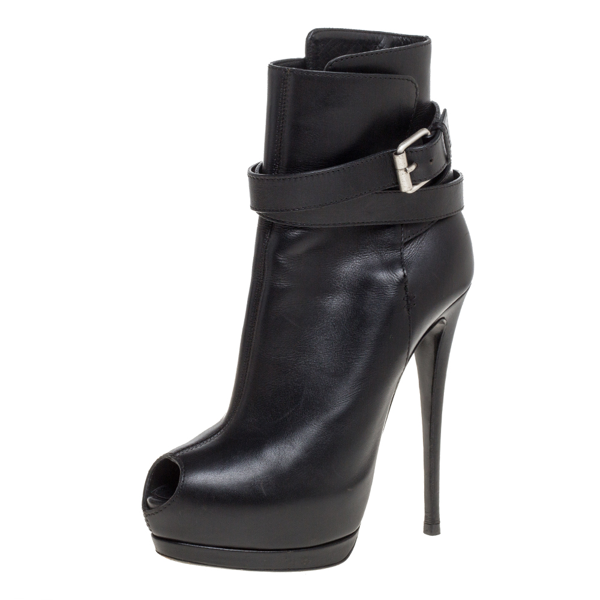 Pre-owned Giuseppe Zanotti Black Leather Peep Toe Platform Ankle Booties Size 39