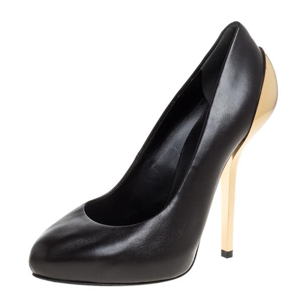 Pre-owned Giuseppe Zanotti Black Leather Platform Metal Heel Pumps Size 36