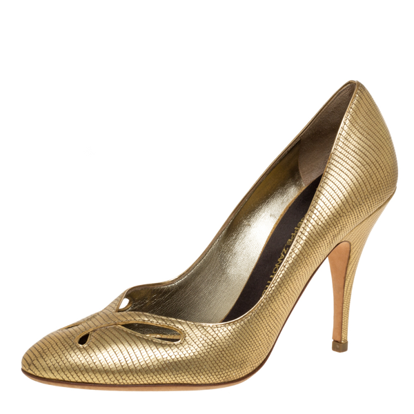 Pre-owned Giuseppe Zanotti Metallic Gold Lizard Embossed Leather Cut Out Pumps Size 37.5