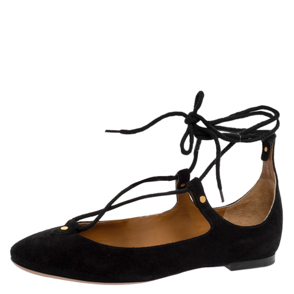 Pre-owned Chloé Black Suede Foster Lace-up Ballet Flats Size 36.5