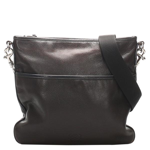 Pre-owned Loewe Black Leather Messenger Bag