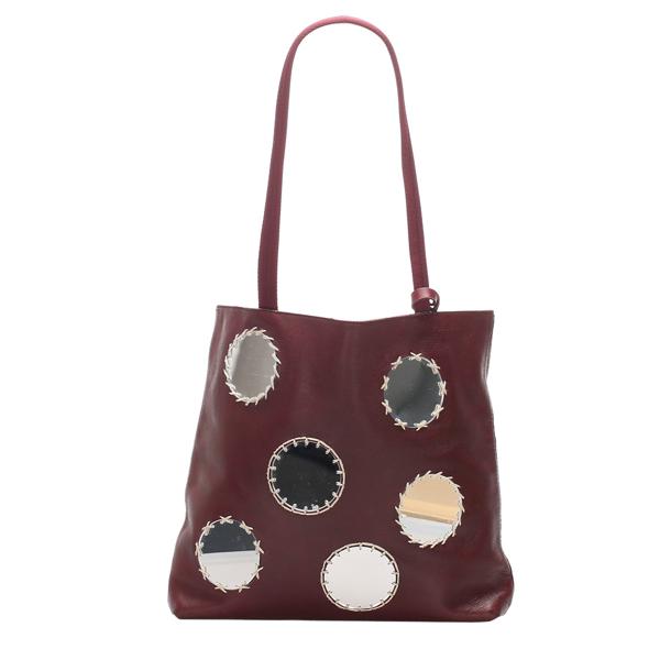 Pre-owned Prada Red Calf Leather Mirror Tote Bag