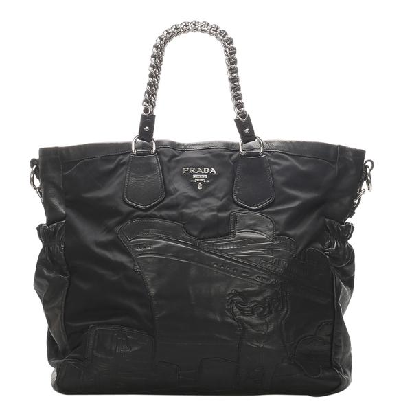 Pre-owned Prada Black Leather, Nylon Tote