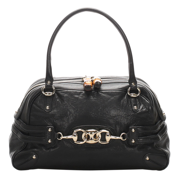 Pre-owned Gucci Black Bamboo Leather Wave Bag