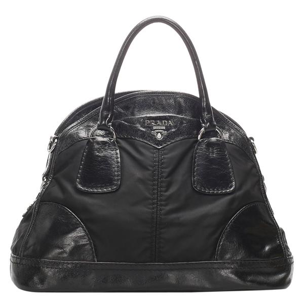 Pre-owned Prada Black Leather Canvas Bauletto Satchel Bag