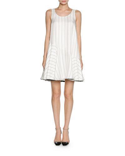 Giorgio Armani Pinstripe Jacquard Sleeveless Flare Dress, White/Black