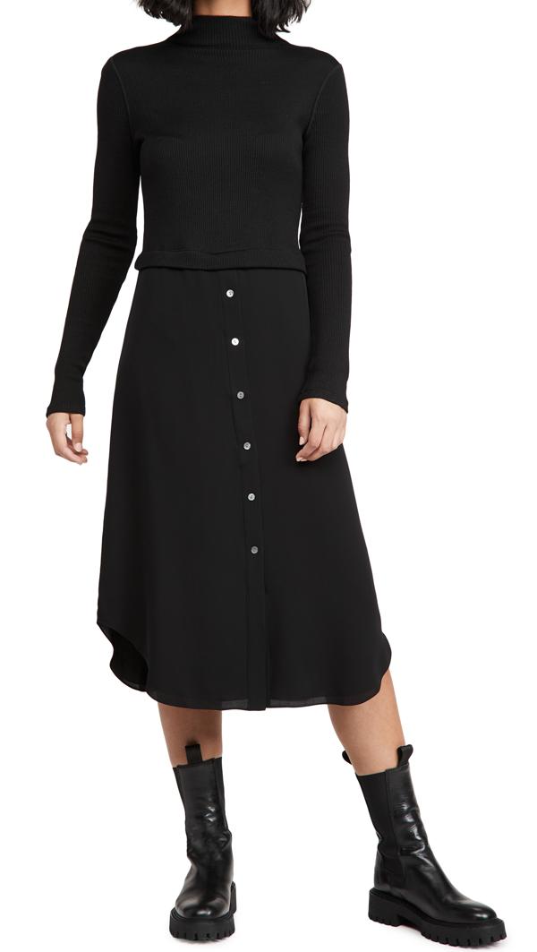 Theory Women's Long-sleeve Combo Sweater Dress In Black - 001