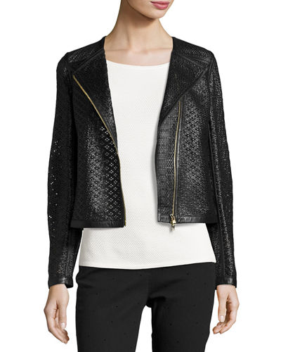 Escada Perforated Leather Moto Jacket In Black