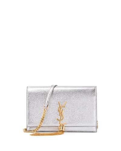 Saint Laurent Kate Monogram Tassel Wallet On Chain, Silver