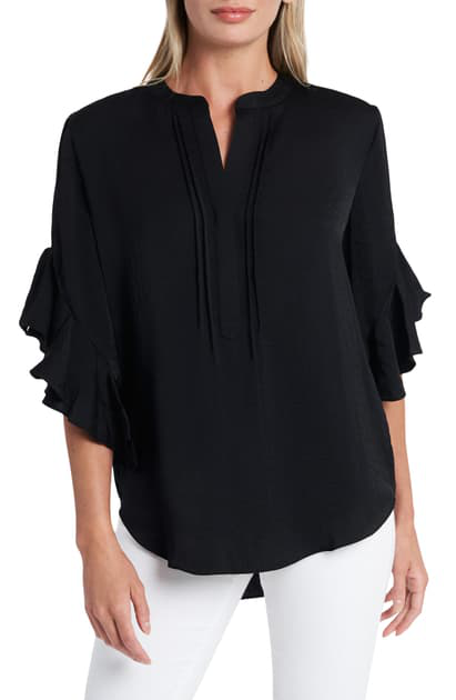 Vince Camuto Ruffled Henley Blouse In Rich Black