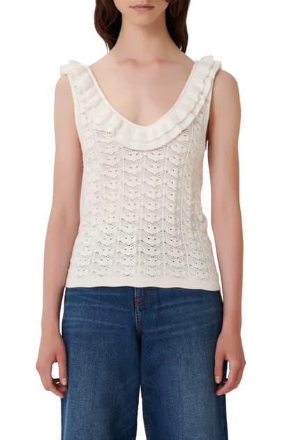 Maje Moty Open Knit Sleeveless Sweater In Ecru