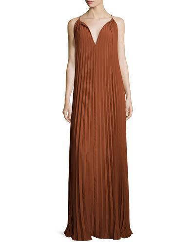 Elizabeth And James Cadence Sleeveless Pleated Maxi Dress, Cinnamon