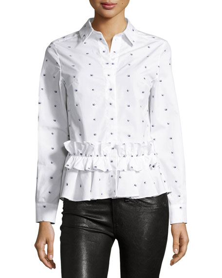 Mcq By Alexander Mcqueen Long-Sleeve Poplin Swallow-Print Blouse, White