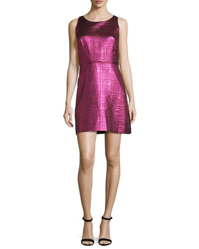 Milly Sleeveless Lurex&Reg; Jacquard A-Line Dress, Fuchsia