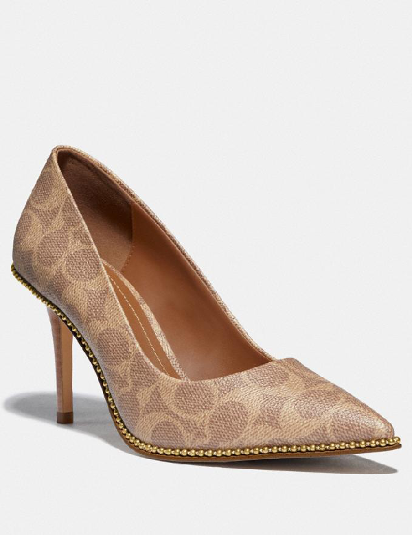 Coach Waverly Bead-trim Signature Coated Canvas Pumps In Tan