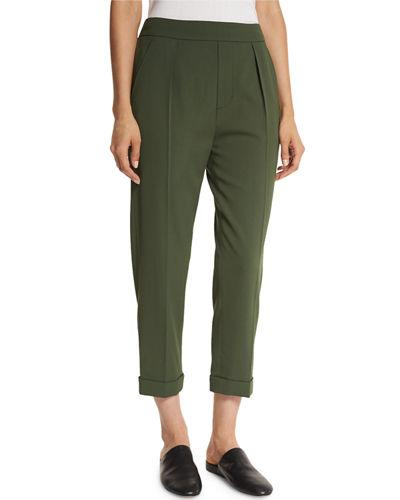 Vince Pull-On Tapered Cropped Trousers, Green