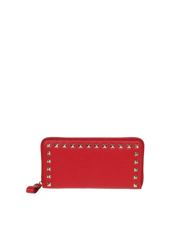 Valentino Garavani Rockstud Wallet In Red