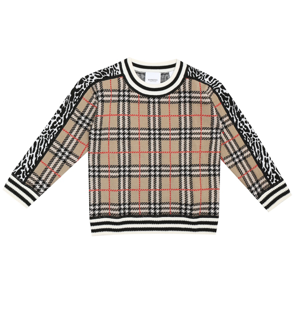 Burberry Kids' Archive Beige Check And Leopard Merino Wool Jacquard Jumper