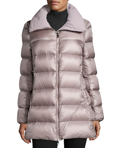 Moncler Torcyn Quilted Wool-Lined Puffer Coat, Light Purple In Medium Green