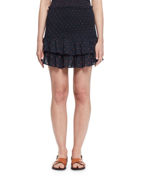 Etoile Isabel Marant Malfos Tiered Polka-Dot Flounce Skirt, Midnight