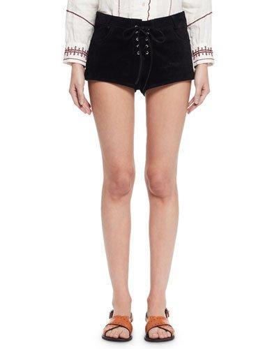Etoile Isabel Marant Danton Suede Tie-Front Shorts, Black