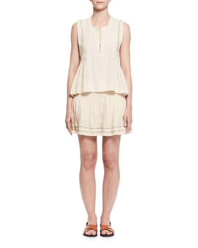 Etoile Isabel Marant Adonis Sleeveless Studded Jersey Top, Ecru In Ivory