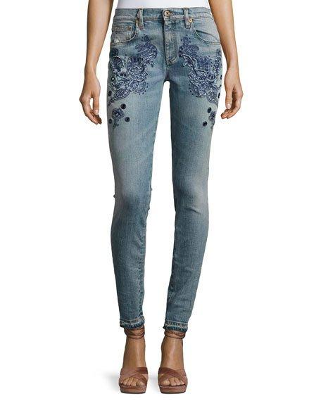 Roberto Cavalli Embroidered Slim-Leg Jeans, Blue