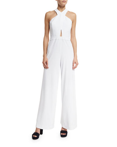 Alice And Olivia Trinity Cross-Front Wide-Leg Jumpsuit In White