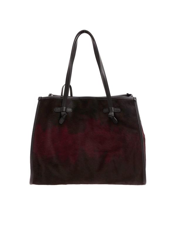 Gianni Chiarini Calf Hair Shopping Bag In Burgundy And Black