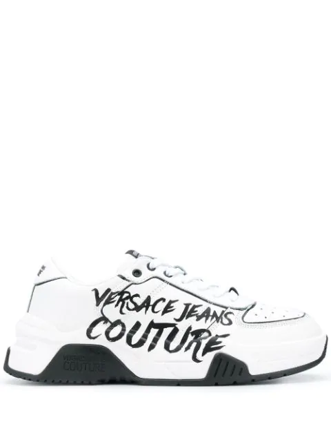 Versace Jeans Couture Men's Shoes Leather Trainers Sneakers Fire 1 In White