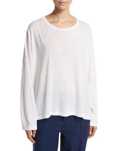 Vince Relaxed Long-Sleeve Crewneck Tee In White