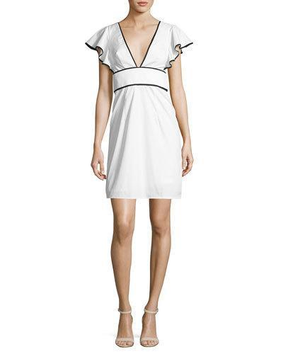 Milly Deni Flutter-Sleeve Poplin Minidress, White
