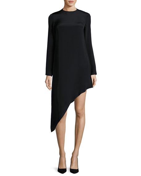 Alexis Helene Long-Sleeve Asymmetric Dress, Black