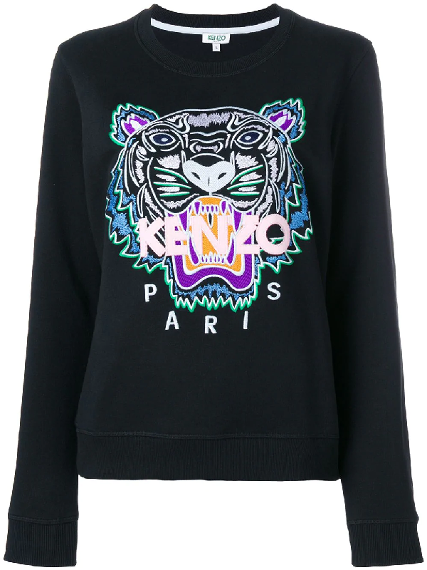 4f99399d Icon Tiger-Embroidered Cotton-Jersey Sweatshirt in Black