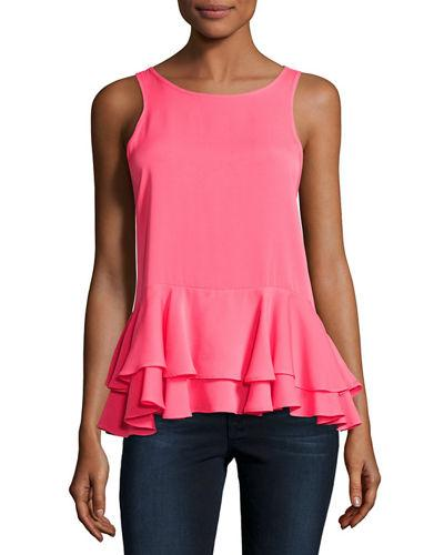 Milly Ruffled Stretch-Silk Tank, Black In Hot Pink