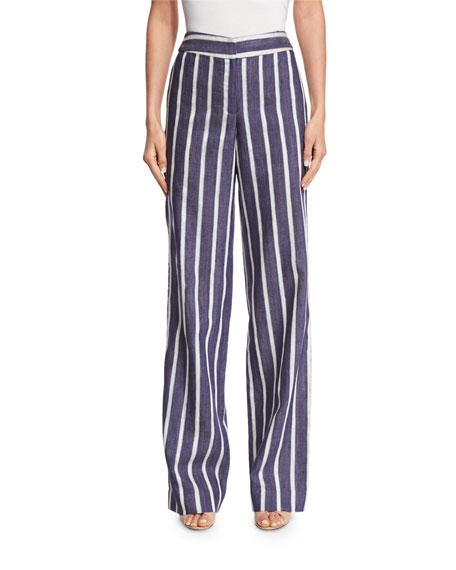 Johanna Ortiz Striped High-Waist Wide-Leg Trousers, Blue/White