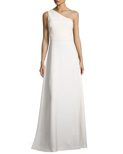 Elizabeth And James One-Shoulder Crepe A-Line Gown, Ivory