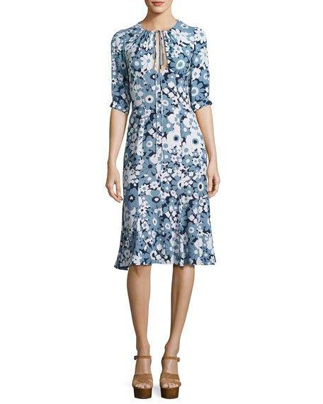 Michael Kors Floral Bias-Cut Keyhole Dress, Blue/Multi, Blue Pattern