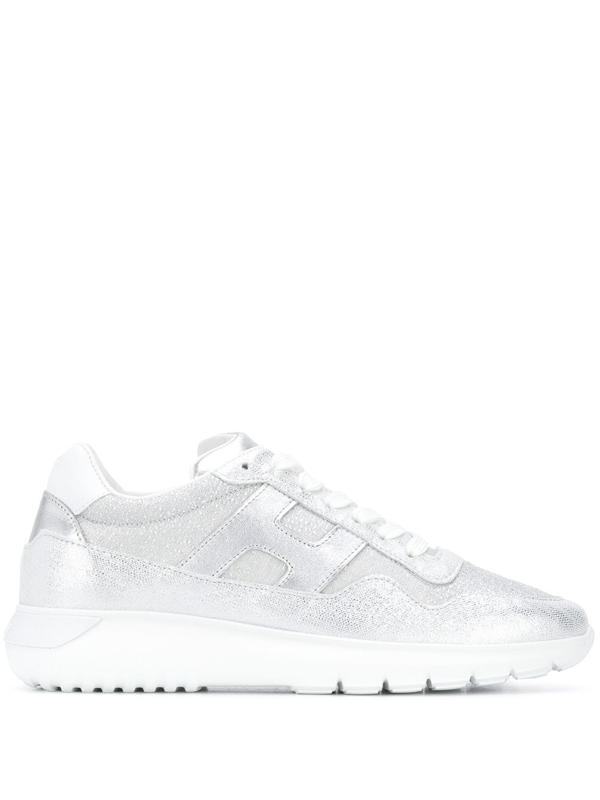 Hogan Interactive 3 White Leather Sneakers In Silver