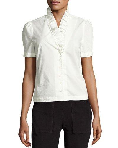 Frame Ruffle-Neck Short-Sleeve Blouse, Blanc In White