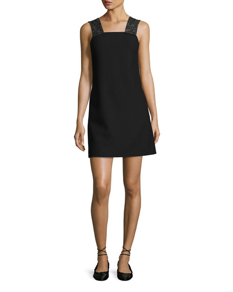 Elizabeth And James Sleeveless Embellished Ponte Shift Dress, Black