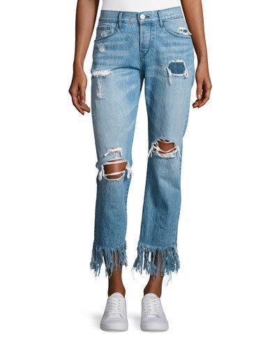 3X1 Wm3 Cropped Straight-Leg Fringe Jeans, Mazzy In Light Blue