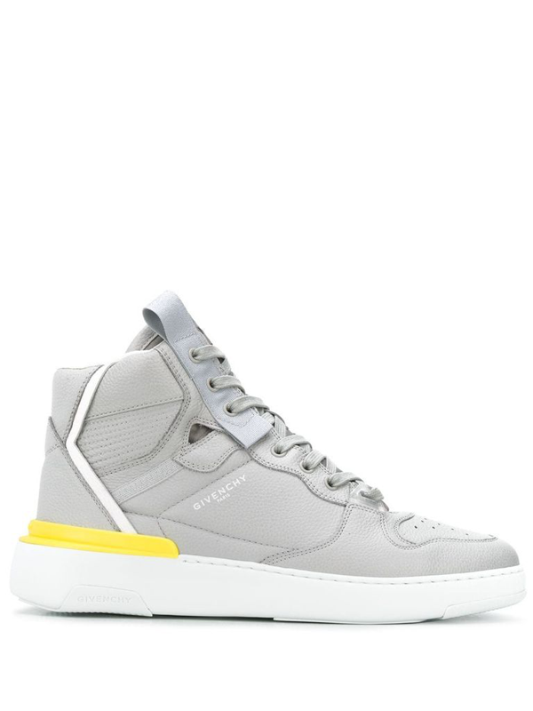 Givenchy Wing Grey Leather Hi Top Sneakers