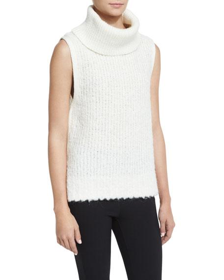 Rag & Bone Adele Sleeveless Ribbed Turtleneck Sweater, Ivory