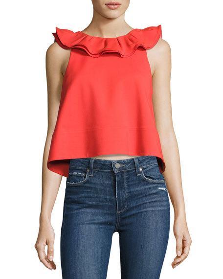 Tibi Agathe Sleeveless Ruffle Crop Top, Black In Red